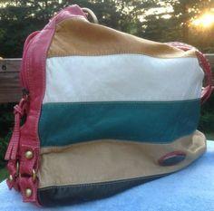 Big Faux Leather Colorful Shoulder Bag Lots Of Room