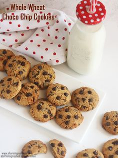 eggless whole wheat choco chip cookies recipe using jaggery as sweetner.eggless choco chip cookies recipe usong whole wheat flour. Eggless Cookie Recipes, Eggless Baking, Chip Cookie Recipe, Baking Recipes, Dessert Recipes, Desserts, Easy Chocolate Chip Cookies, Chocolate Chip Recipes, Chocolate Chip Oatmeal