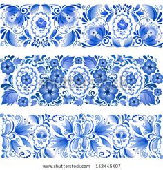 Russian traditional blue vector ornamental lines in gzhel style - stock vector Fabric Design, Pattern Design, Flowers Illustration, Decoupage Paper, Russian Art, Russian Style, Vintage Flowers, Chinoiserie, Art Tutorials
