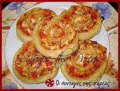 Νόστιμα και γρήγορα ρολάκια σοφολιάτας με τυρί φέτα και ντομάτα, που μπορείτε να εμπλουτίσετε με ότι τραβάει η όρεξη σας. Greek Pastries, 4 Ingredient Recipes, Savory Muffins, Savoury Pies, Party Finger Foods, Party Buffet, Recipe Images, Greek Recipes, Cooking Recipes