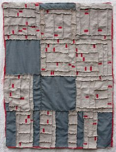 "Albuquerque Foreclosure Quilt, 2012. 35"" x 47"" Linen, wool, yarn and embroidery thread. By Kathryn Clark."