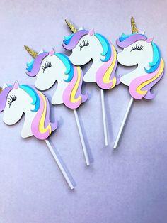 Unicornio Cup Cake toppers/unicornio decoraciones de | Etsy