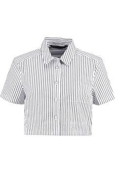 MARC BY MARC JACOBS Cropped striped cotton-poplin shirt. #marcbymarcjacobs #cloth #shirt