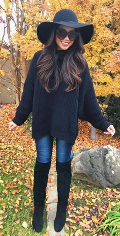 #winter #outfits black sweater with blue jeans and pair of black knee high boots