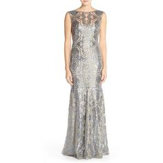 Tadashi Shoji Sequin Tulle Mermaid Gown ($508) ❤ liked on Polyvore featuring dresses, gowns, duchess grey, tulle dress, tulle ball gown, sheer overlay dress, tadashi shoji dresses and grey dress