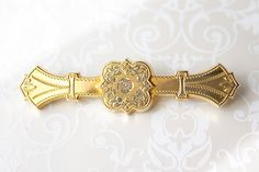 Antique Victorian Bar Pin, gold filled brooch, tricolor gold filled pin, Victorian Edwardian bar pin, signed F.M. Co.