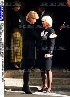 March 9, 1997: Diana, Princess of Wales with Mrs. Diana Donovan leaving the memorial service for her husband, photographer, Terence Donovan, St. George's Church, Hanover Square.
