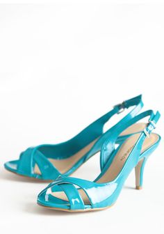 """$29. Southern Belle Charm Heels 38.99 at shopruche.com. With smooth organic lines and a whimsical open toe, these d'orsay patent leatherette heels in teal sing of sophistication. Adjustable ankle strap., , All man-made materials, Slightly padded footbed, 3.25"""" heel"""