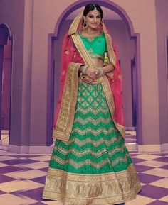 Buy Marvelous Green Lehenga Choli online at  https://www.a1designerwear.com/marvelous-green-lehenga-choli-4  Price: $241.38 USD