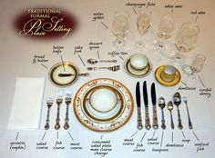 Most comprehensive traditional formal place settings. Exact placement for every piece of silver, glass or crystal. Comment Dresser Une Table, Cena Formal, Royal Table, Dining Etiquette, Table Setting Etiquette, Etiquette And Manners, Table Manners, Dessert Spoons, Decoration Table