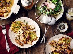 Schnitzeltopf mit Pilzen und Röstitaler.