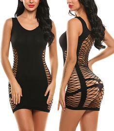 Avidlove Women's Chemise Sexy Lingerie Fishnet Babydoll Sleepwear Mesh Dress Black