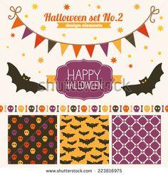 Halloween set of design elements - seamless patterns, label, stars, garland, bats, header, ribbon  - stock vector