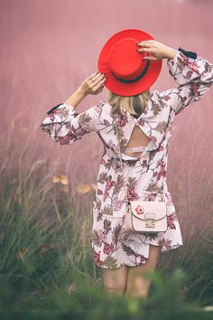 How to wear white ankle boots / Fall 2017 floral dress outfit pink grass south korea tassel dress