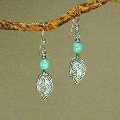 Jewelry by Dawn Turquoise with Leaf Sterling-silver Dangle Earrings