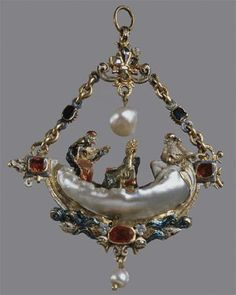 Pendant in the shape of a gondola, ca. 1568, gold, polychrome enamels, pearls, rubies, emeralds and diamonds, It has compared a long baroque pearl to the gondola. Pantalone and Fangs make a serenade to a loving couple. an eagle's head is on the prow of the gondola.   The heads of two fish emerge on the waves of the sea. Holes suggest that the boat was originally equipped with a canopy. The jewelry was one of the oldest specimens in the collection of Medici family.