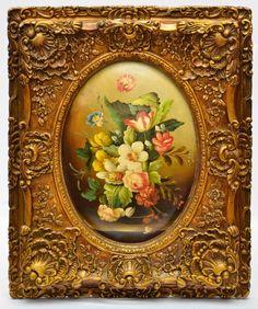 """SEM ASSINATURA ( Escola Europeia ) - """" Flores """" pintura sobre placa ricamente emoldurada. M"""