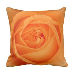 Amber Flush Rose Pillow by www.zazzle.com/htgraphicdesigner* #zazzle #pillow #cushion #rose #gift #giftidea #orange #amber