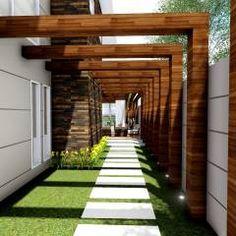 Pergola For Small Backyard Side Yard Landscaping, Backyard Patio Designs, Modern Backyard, Pergola Designs, Side Garden, Backyard Pergola, Cheap Pergola, Pergola Kits, Patio Canopy