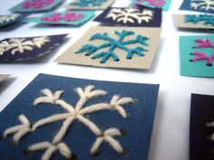snowflake sewing cards. Have kids make these to go on top of gifts