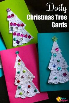 Doily Christmas Tree Cards - Easy To Make And Fun For Kids Of All Ages. Extraordinary Homemade Card For Kids To Give At Christmas Time. Preschool Christmas Crafts, Christmas Art Projects, Christmas Crafts For Kids, Christmas Activities, Simple Christmas, Christmas Tree Ornaments, Holiday Crafts, Christmas Time, Christmas Cards