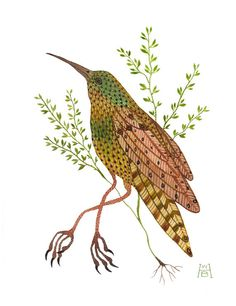 Time Stood Still V bird art original watercolor by GollyBard, $185.00