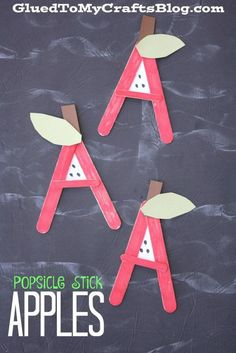 Preschool crafts Popsicle Sticks - A is for Apple Popsicle Stick Kid Craft Abc Crafts, Alphabet Crafts, Daycare Crafts, Letter A Crafts, Classroom Crafts, Glue Crafts, Craft Stick Crafts, Alphabet Letters, Spanish Alphabet