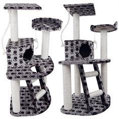 Pet Cat Scratching Tree - Grey and Black Cat Scratching Tree, Rope Ladder, Hanging Rope, Cat Tree, Sisal, Cube, Plush, Kitty, Entertaining