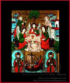 Sfânta Treime icoană naivă pictată pe dosul sticlei în ulei pictură tradițională lucrare de artă religioasă icoană ortodoxă pe sticlă icoană Sfânta Treime icoană  pictată  pe sticlă cu Sfânta Treime
