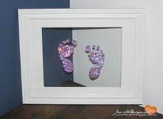This gives me an idea to do this with glue and glitter!!!: Swarovski Crystal Baby Foot Prints