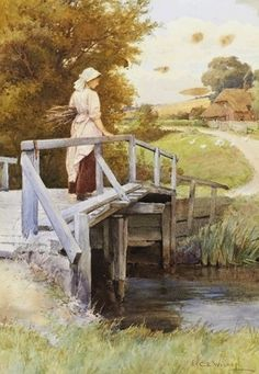 The Stream Bridge ~ Charles Edward Wilson ~ (English: 1854-1941)