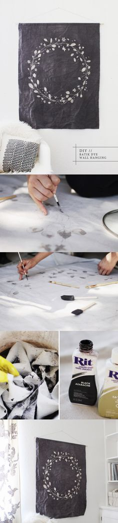 DIY ::  BATIK DYE WALL HANGING ( http://www.kellimurray.com/2013/04/19/diy-batik-dye-wall-hanging/ )