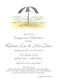 Beach Scene Invitation designed by Flower and Vine Engagement Celebration, Engagement Party Invitations, Beach Scenes, Beach Club, Invitation Design, Engagement Invitations