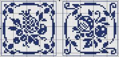 Two square tiles: pineapple, pomegranate - charts for cross stitch or filet crochet.