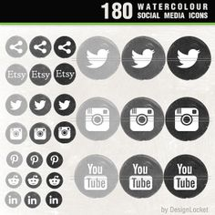 180 Watercolour Social Media Icon Pack, Black & Grey Shades