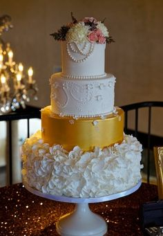 Sweet Treets Bakery - Austin Cakes - Gold and white wedding cake with ruffle flower and pearl details