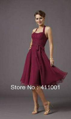 Burgundy Halter XS-2XL 3XL Knee-Length Cocktail Dress in Stock XS S M L XL XXL 3XL 4XL $28.99