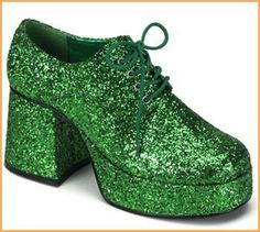 Men's Leprechaun Green Glitter Shoes $47.83 stand tall in these all over green glitter platform costume shoes for men. 3 1/2 inch heels. St Patrick's Day Costumes.  http://www.halloweencostumes4u.com/prods/p33jazz02g-green.html