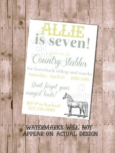 Horse Birthday Invitation - Printable and Customizable. $16.00, via White Tail Prints on Etsy.