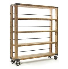 Modern Rustic Reclaimed Wood Rolling Bookcase