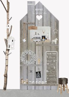 Steigerhout home is where the heart is Pallet Crafts, Pallet Art, Wood Crafts, Salons Cottage, Wood Projects, Woodworking Projects, Scaffolding Wood, Palette Deco, Miniature Houses
