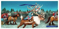 Eefje Kuijl Illustration - eefje, kuijl, eefji kuijl, commercial, educational, fiction, mass market, greetings cards, young reader, YA, digital, colour, winter, colourful, photoshop, young, cute, sweet, child, christmas, festive, girl, reindeer, antlers, laters, ribbon, light, present, box, words, trees, forest,