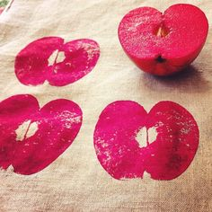 Hand-printing fabric by Hazelnutgirl, via Flickr