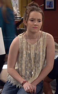Eve's gold pleated polka dot top on Last Man Standing.  Outfit Details: http://wornontv.net/37699/ #LastManStanding