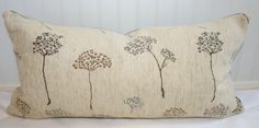 Schumacher Tea Tree Lumbar Pillow Cover / 14 X 24 / Creme, grey, brown, and tan upholstery with grey chenille back