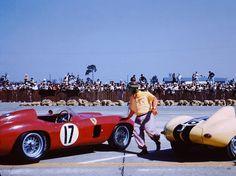 Fangio and his winning Ferrari 860 Monza at Sebring 1956.