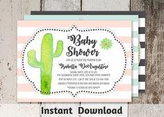 Cactus Baby Shower Invitation Template for Boy Girl Gender