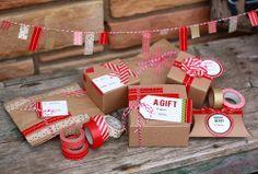Cute DIY Christmas gift wrapping w festive washi tape