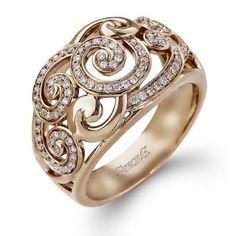 Simon G. 18K Rose Gold Diamond Swirl Ring Featuring 0.33 Carats White Diamonds
