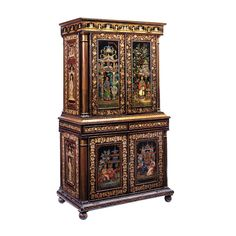 Regency Polychrome Penwork Chinoiserie Cabinet